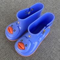 al por mayor los mini patines-2017 Mini Melissa dibujos animados niños lluvia patos Lucky bebé lluvia botas bebés Melissa lluvia botas niños botas agua jalea zapatos antideslizante
