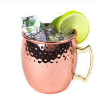 Wholesale Hammered Moscow Mule Cups Copper Plateing Stainless Steel Mug Brass Handle Hammered Moscow Mule Mug with Solid Brass Handle