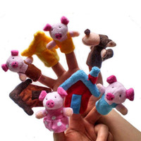 animal doll house toy - Finger Hand Puppets Plush Toys For Kids Animal Pig House Finger Gloves puppets baby reborn dolls Education Toy Gift WOct1