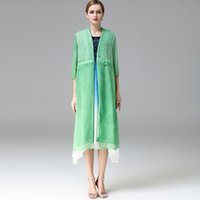 Cardigan air conditioner s - High Quality summer women long cape crepe silk double deck coeved fake two pieces Air conditioner outer cover customize