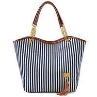 Wholesale Hot selling fashion women Stripe Design Canvas Shoulder Bag Street Snap Candid Tote Handbag Single Shoulder Bag