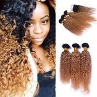 Cierre de encaje de cabello rubio de raíces oscuras con 3 bultos 8A 1B 27 Miel Blonde brasileño de pelo de Virgen rizado profundo riza la extensión del cabello