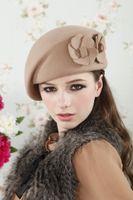 Wholesale New Fashion Brand Winter Beret Hat For Women Beret Hat Female Beanie Cap Flower French Trilby Wool Soft Stewardess Hat