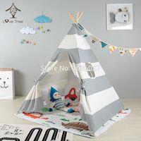 Wholesale LoveTree Grey Stripe Portable Kids Cotton Canvas Teepee Indinan Play Tent Playhouse