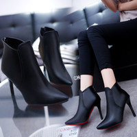ankle boot pumps - Ultra Lady Temperature PU Leather Ankle Boots Women High Heel Charming Black Bottes Spring Autumn Botas Femme Chaussure Shoes