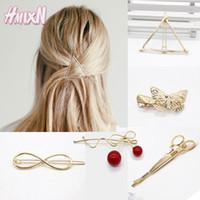 Ronde triangle feuilles populaire forme de cheveux épingles métal femmes dame filles ciseaux lunette barrette cheveux clip cheveux accessoires décorations