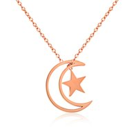 al por mayor luna colgante de oro rosa-Collar pendiente de calidad superior de la estrella de la personalidad 14K Rose de la nueva llegada y de la estrella para el regalo de la novia de las mujeres