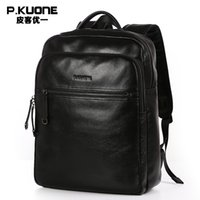 Venta al por mayor- P.KUONE cuero genuino 2017 nuevos hombres de moda masculina de lujo bolsa de alta calidad impermeable portátil Messenger Travel mochila bolsa de escuela