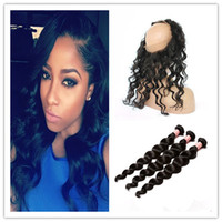 Wholesale Peruvian Loose Deep Wave Lace Band Frontal Closure With Bundles A Loose Wave Virgin Human Hair With Full Frontal Lace Closure