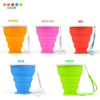 Wholesale New Portable Vogue Outdoor Travel Silicone Retractable Folded Cup Telescopic Collapsible Soft Drinking Cup Water Bottles