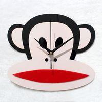 Wholesale Lovely Creative Fashion Cartoon Stereo Big mouth monkey wall clock