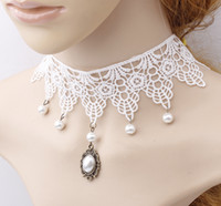 Wholesale Stylish White Lace Wedding Dress Necklace Collar Pearl tassel Sweater Chain Women s Xmas gift