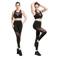Wholesale Mesh Black Fitness Clothing Yoga Suit Tracksuit Skinny Sexy Sport Pants Sport Bras Gym Fitness Clothing for Women