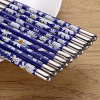Wholesale New Arrival Stainless Steel Chopsticks Beautiful Gift Set Chinese Classic Anti skip Pairs Chopsticks