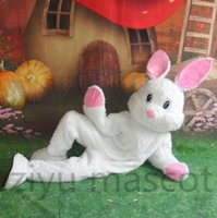 Wholesale Easter Bunny Mascot Costume Cute White Rabbit Cartoon Fancy Dress unisex Adult size Outfit Rabbit Fancy Dress for Party