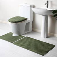 Wholesale Bathroom Mats Set Coral Fleece Memory Foam Rug Kit Toilet Pattern Bath Non slip Floor Carpet Mattress for Bathroom Decor A4