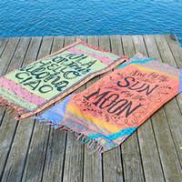 Wholesale 4 Colors Thin Rayon Rectangle Beach Towel Yoga Mat Bath Towels Printed Bikini Covers Blankets ELTL036