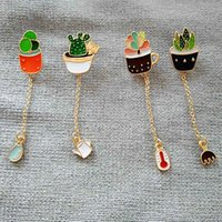 Wholesale The new fashion Cute girl green cactus plants brooch brooch Japan and South Korea badge