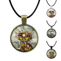 chatons uniques achat en gros de-Unique Punk Kitten Collier Vintage Steam Circle Pendant Chaussures Unisex De Cordes Unisexes Retro Bronze Silver Antique Collection