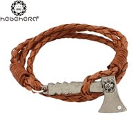 ax man - Handmade Charm Bracelet Retro Leather Woven Skull Ax Skeleton Men Women Vintage Braided Bracelets Bangles Jewelry