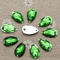 Wholesale mm Green Resin Sew on Rhinestones Waterdrop Silver Flatback Droplet Sewing stones holes For Dress Decoration
