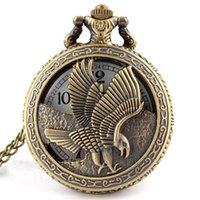 antique wings - Vine Jewelry Antique bronze Eagle Wings Shiying Huai Table pocket watch necklace pendant gift for men and women