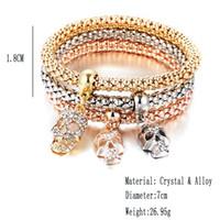 Wholesale 3 Set Crystal Skull Keys Lock Note Bracelet Bangle Gold Silver Plated Friendship Bracelets For Women Fashion Jewelry