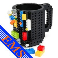Wholesale 60pcs Mix Order LEGO Style Coffee Cup Eco friendly Plastic Colors DIY Drinkware OZ KRE O K NEX Bricks Pixel Mega Building Blocks Mug