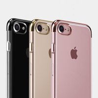 apple bottom models - New Electroplate Transparent TPU Case For iPhone S Plus Top Bottom Electroplating Soft Clear Back Skin Phone Cover Support Mix model