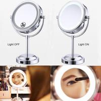 Precio de Soportar pulgadas-6 pulgadas 3X Maquillaje de aumento LED iluminado espejo doble 2 lados ronda de 360 grados giratorio espejo cosmético de pie lupa espejo