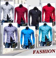 Wholesale 2017 Men s pure color business shirt Lapels fashionable man leisure cultivate one s morality Multi color long sleeve shirts