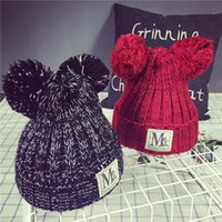 Wholesale 2016Double color ball knitting wool hat Mickey coarse labeling M autumn thick warm tide pointed hat