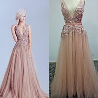 Reference Images best fashion pictures - Elegant D Lace Appliques Formal Evening Dresses Elie Saab Deep V Neck Tulle Best Prom Dresses Sweep Train Beads Pageant Gown