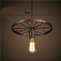 antique light shades - Wheel Metal Shade Ceiling Vintage Pendant Light Fitting American style Rope Drop Lamp Antique Edision Bulb Suspension Light For Dining Room