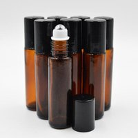 aromatherapy glass - 10ml oz Thick AMBER Glass Roll On Bottle Essential Oil Empty Aromatherapy Perfume Bottle metal Roller Ball F201765
