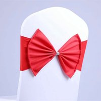 Wholesale Bows Chair Covers cover for Wedding Party supplies Elastic Chair Sashes sash chair bands with bow colors new