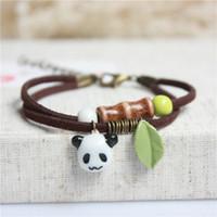 Cuff Celtic Men's Wholesale- 2016 New Design Animal Ceramic Bracelets&Bangles Cute Panda Rabbit Dog Shape Pendant Rope Link for women fashion jewelry