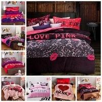 Wholesale Pink Bedding Set VS Duvet Covers Pink Letter Bed Sheet Flannel Bed Set Leopard Flower Pillowcases Fashion Bedding Home Textile OOA1068