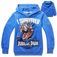 Wholesale 2015 New Y Big boys hoodies cartoon Jurassic World dinosaur cotton hoodies children long sleeve casual clothes Colors