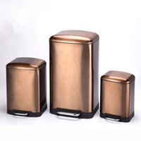 Wholesale 30L Stainless Steel Pedal Step Trash Can Golden