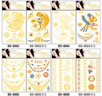 Wholesale golden tattoo temporary tatoo decal women men body art wings bird feather temp metallic tattoo stickers colorful DHL