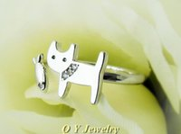 bff rings - Silver Plated Fashion Cute Kitty Cat With Fish Ring Boho Chic Mid Finger Crystal Stone Kitty Cat BFF Ring Couple Rings For Women