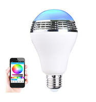 Wholesale Wireless bluetooth led speaker bulb RGBW Multi colored E27 Smart led bulb controled by IOS Android APP with audio mini speaker