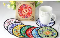 Wholesale Chinese wind gift embroidery cloth coaster A pack of four Various colors are available dorp shinpping