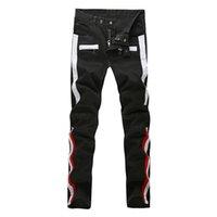 bianco e nero - DHL libero Top Quality Jeans Uomo Nero Biker Jeans Bianco E Rosso Stripes Stitching Slim Fit Homme Marca Famosa