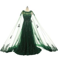 Wholesale Real Photos Green Illusion Sheer Neck Cape Evening Dresses Sheath Applique Sequins Sweep Train New Custom Made Simple Formal Long Prom Gowns
