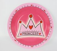 Wholesale quot Princess crown Paper Plate New Hot Birthday Party Decoration Kids Freezing Event Party Supplies