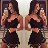 Summer adult network - New European sexy black lace harness dress network stitching nightclub dress