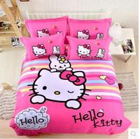 Wholesale Cotton Hello Kitty three or four piece Hello Kitty KT thick sanding cotton bedding cartoon children