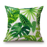 Wholesale 18 Inch Cotton Linen Fashion Green Leaf Decoration Throw Pillow Cover Sofa Pillow Case Home Decor JF004